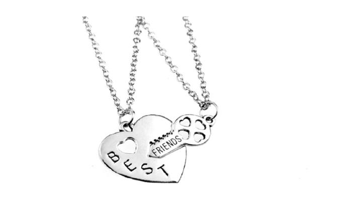 Double chain best friend necklace broken heart key pendant necklaces aloadofball Image collections