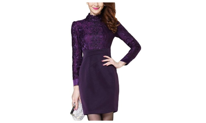 Women's Long Sleeve Fashion European Style Slim Fit Dress  - Purple / US 10