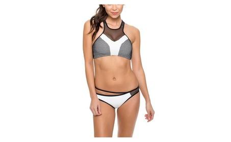 Women's High Halter Neck Racing Back Mesh Swimwear 0d45da01-dfed-4901-aa78-65f4eadbe44c