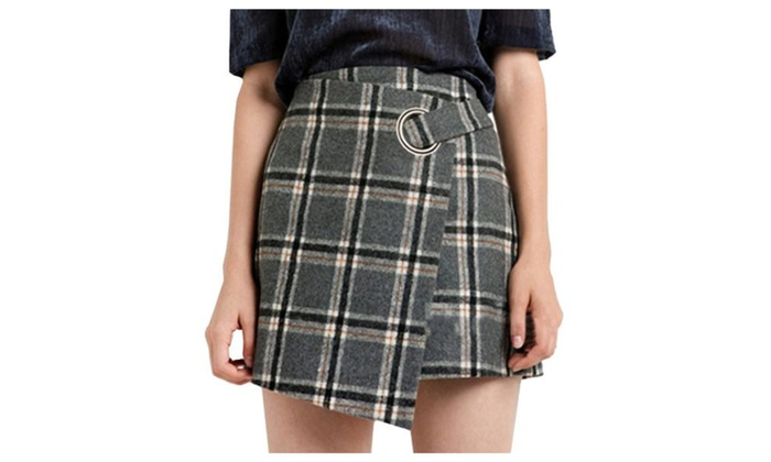 Women's Ladies Casual Bodycon Checkers A Line Simple Skirts