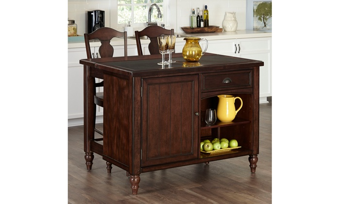 inexpensive cabinets for kitchen country comfort kitchen island and two bar stools groupon 4685