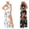 Women Sexy Chiffon Floral Off the Shoulder Backless Beach Maxi Dress