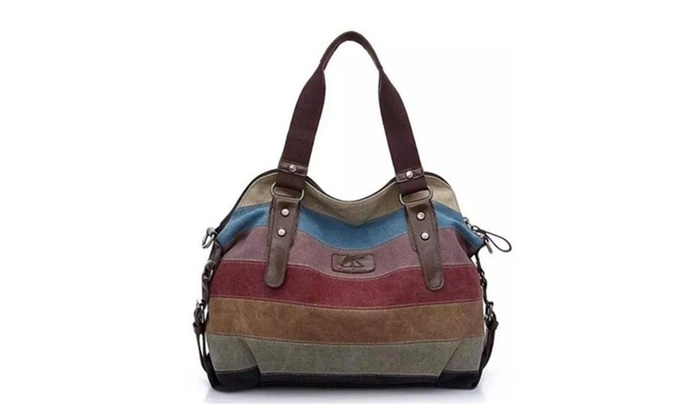 Women Stripe Canvas Tote Shoulder Messenger Crossbody Bag