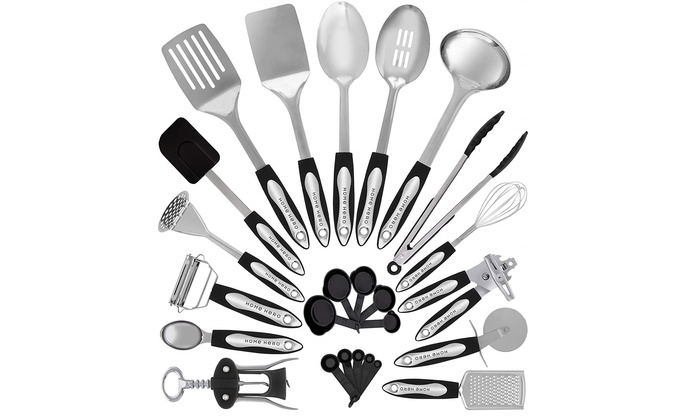 Stainless Steel Kitchen Utensil Set - 25 Cooking Utensils by HomeHero