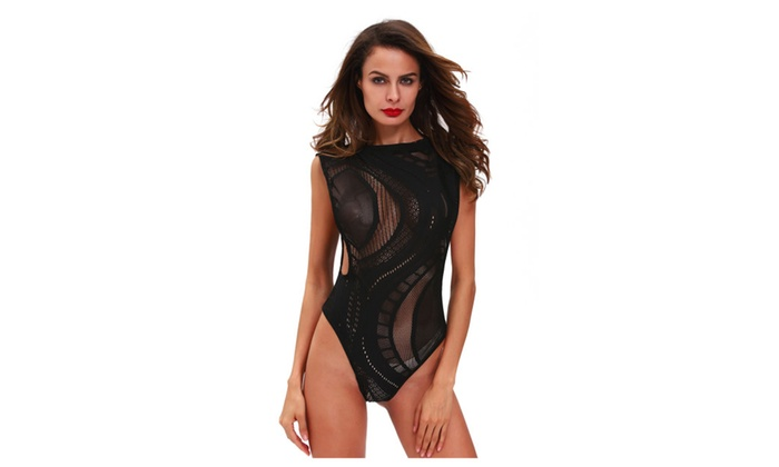 Women's Lingerie Open Arm Crotchless Asymmetric Hollow-out Teddy