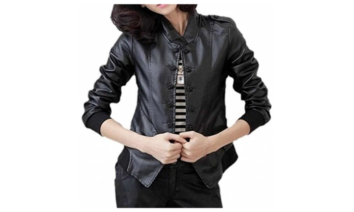 Womens Fashion Loose Crewneck Locomotie Short Leather Jacket