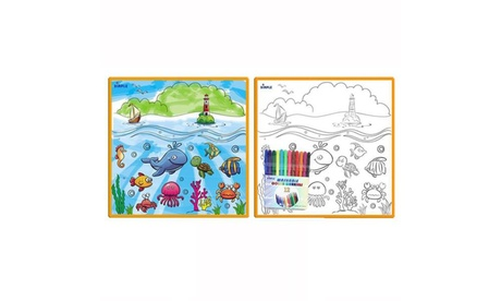 Kids' Large Washable Coloring Play Mat with Washable Markers 756fc835-c665-4eba-9986-7f540345fd64