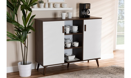 Quinn Two-Tone White and Walnut 2-Door Wood Dining Room Sideboard