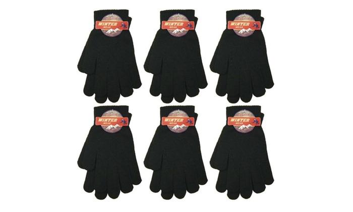 6 Pcs Magic Gloves Black Winter Warm Knitted Gloves.