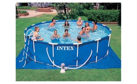 Intex 15 39 X 48 Metal Frame Swimming Pool Set W 1000 Pump Groupon