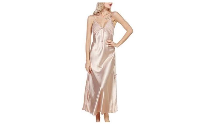9ce8297a8eb Women s Silk Pajamas Long Pattern Split Sexy Sling Sleep Dress