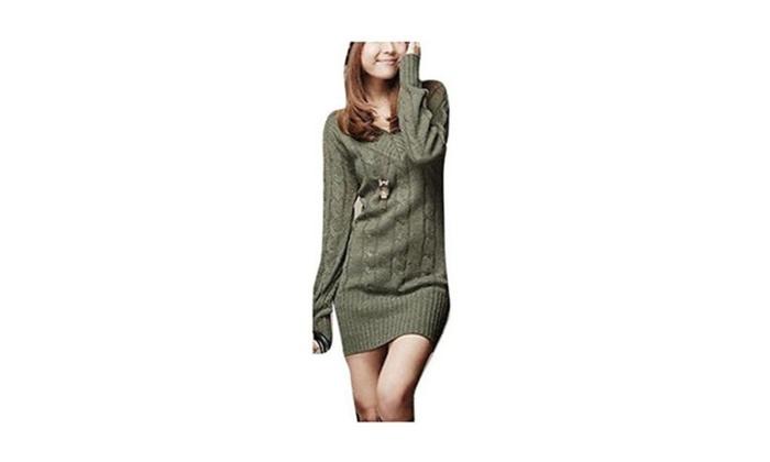 Women Long Casual V-Neck Outwear Knit Sweater Jumper Pullover Dress