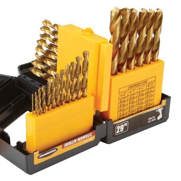29 Pc Hss High Speed Steel Brad Point Drill Bit Set For Wood Drilling Kit