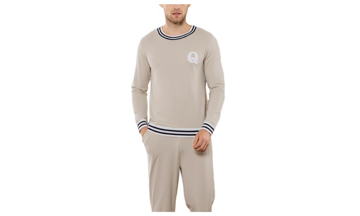 Men's Casual Long Long Sleeve Pullover Casual Pajamas Set