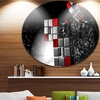 Fractal 3D Red White Cubes' Abstract Circle Metal Wall Art