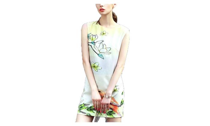 Women's Slim Fit Mid Rise Blouson Sleeveless Dresses