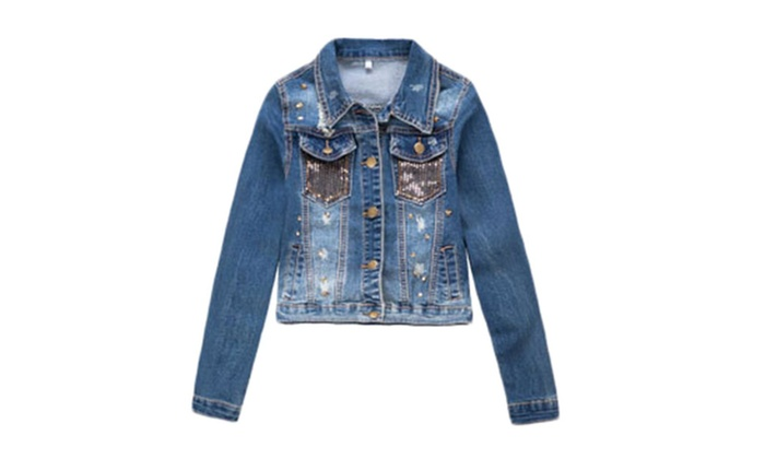 Women's Casual Buttons Front Fashion Distressed Denim Jacket