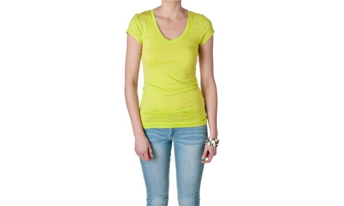 Active Basic Womens Short Sleeve V-Neck Tee 8750-5
