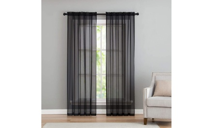 Set of 2 Sheer Curtain Bedroom Curtains Light Voile Curtain