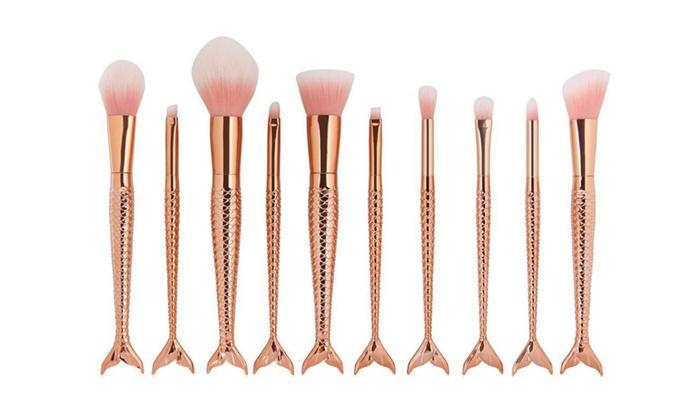 rose gold makeup brush set. rose gold mermaid makeup brush set cosmetic tools kit d
