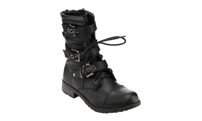 Beston GE11 Women Mid-Calf Buckle Strap Lace-Up Combat Costume Boots