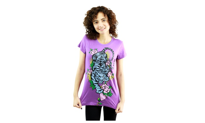 Tiger in Nature Purple T-Shirt NEW