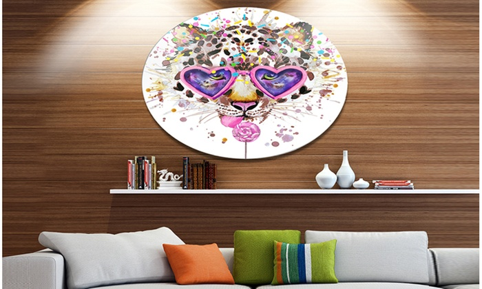 Groupon goods funny leopard with heart glasses disc oversized animal wall art