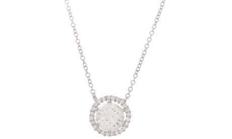 18K White Gold Sterling Silver Round CZ Cable Chain Necklace f543a6e5-50d6-4135-81da-5d295ff1bf7c