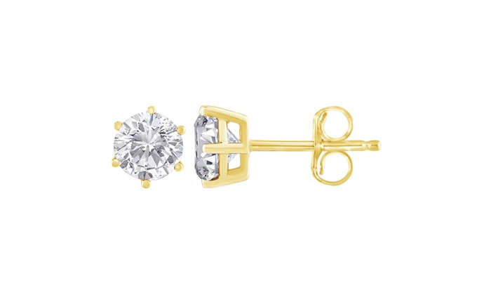 14k Yellow Gold 0 5ct Round Cut Diamond Stud Earrings K L