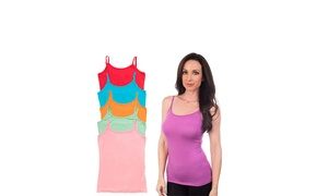 Agiato Womens' Basic Camisole 6-Pack (Bright)