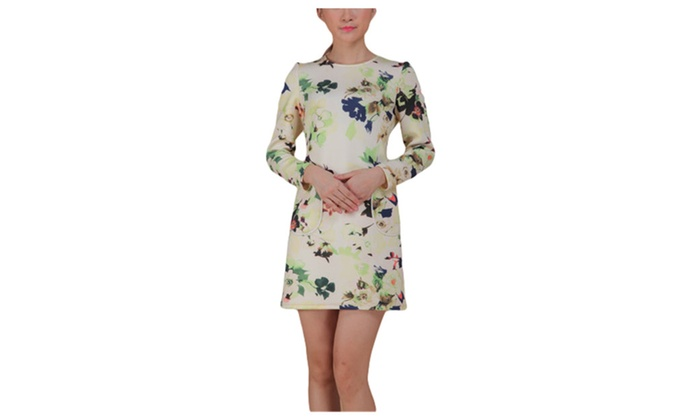 Women's Spring Floral Printed Long Sleeve Casual Dress