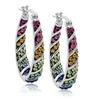 AamiraA Rainbow Brass Hoop Earrings with Swarovski Crystals