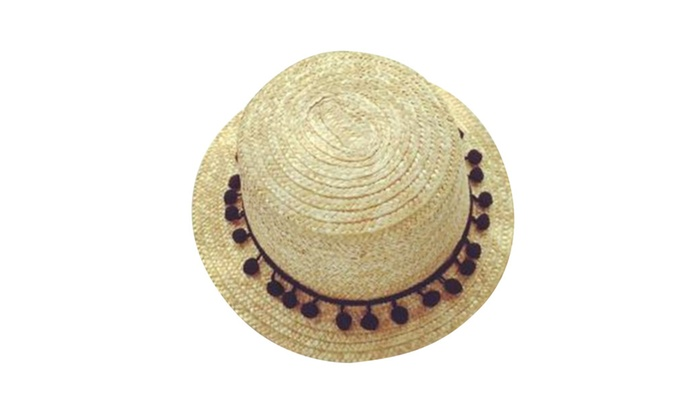 Wide Brim Straw Fedora Hat With Pom-Pom Trim