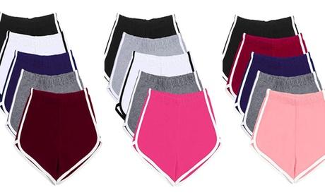 5 Random Colors Yoga Running Exercise Elastic Waist Booty Shorts