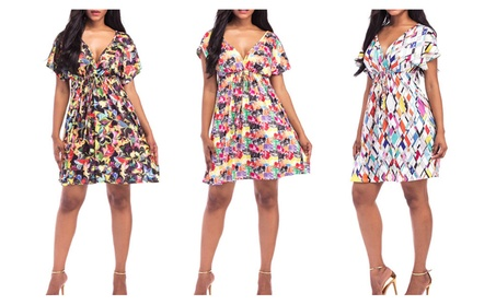 Women Floral V-Neck Short Dress eb04c55f-b296-44a5-a4de-6b133da1b36d
