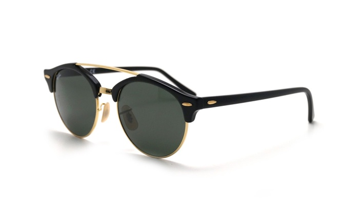 d19c1ee5fa0d0 Ray Ban clubround double bridge rb4346 901 51 black  green classic g15