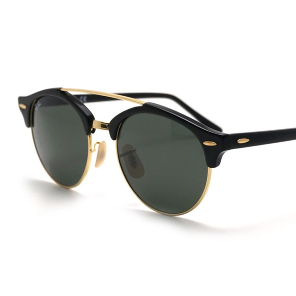 3683c2ba7a035 Ray Ban clubround double bridge rb4346 901 51 black  green classic g15