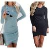 Women's Long Sleeve Bodycon Dress Ruched Short Mini Dresses