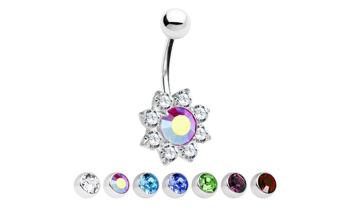 Sterling Silver Flower Belly Button Ring With Large Cz