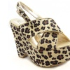 Leopard Criss-Cross Platform Wedge Sandal