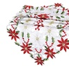 Beautiful Embroidered Poinsett Table Runner For Christmas Decorations