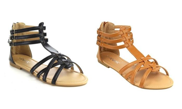 ANNA Mavis Ankle Cuff Flat Gladiator Sandals - Black, Tan & Mint