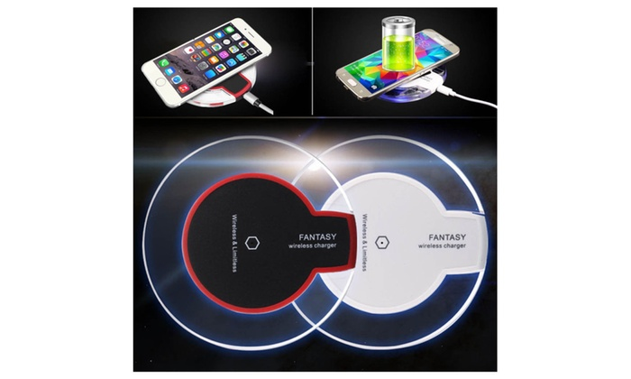 iphone 8 8 plus x compatible qi wireless charging pad with led light groupon. Black Bedroom Furniture Sets. Home Design Ideas