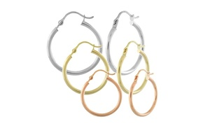 14k Solid Gold High Polish Hoops