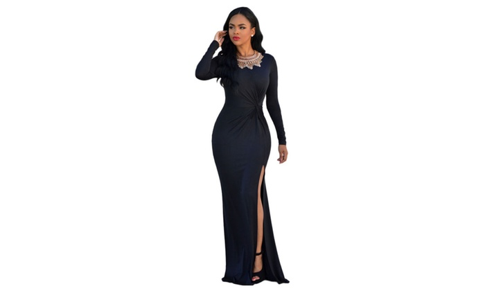 Women's Black Knotted Front Long Sleeves Gown - Black / one size