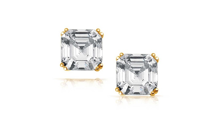 14K Gold Plated Square 4 Prong Cubic Zirconia Push Back Stud Earrings
