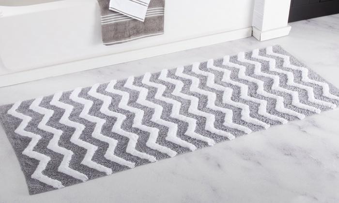 lavish home 24x60 oversized 100 cotton chevron bathroom mat - Cotton Bathroom Mat