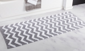 "Lavish Home 24""x60"" Oversized 100% Cotton Chevron Bathroom Mat"