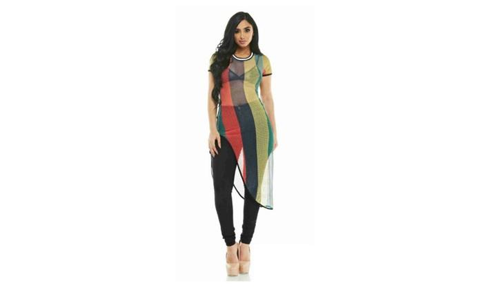 f4c495129b Short Sleeve Reggae Rasta Striped Fishnet Cover-Up Asymmetrical Dress