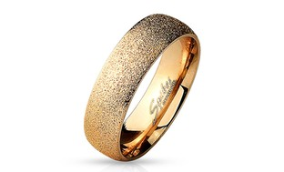 Sand Sparkle Finish Dome Surface Rose Gold IP Stainless Steel Ring